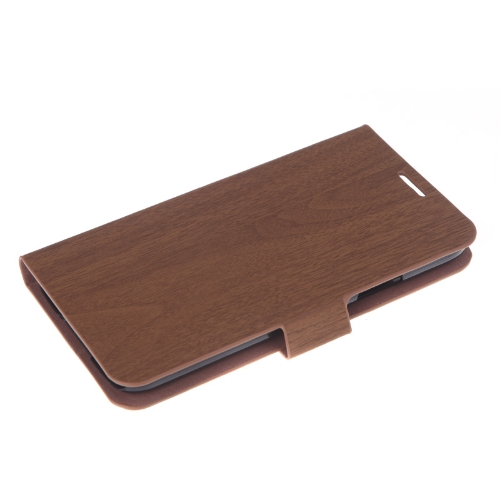 Wooden Leather Wallet Flip Stand Case Cover for SAMSUNG Galaxy S5 i9600 Brown