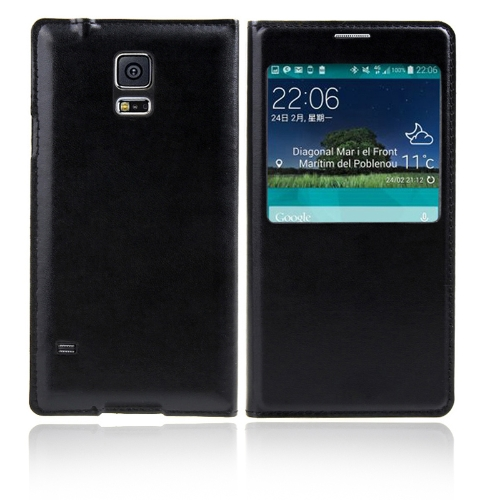 Flip Smart View Intelligent Sleep PU Leather Battery Housing Case Cover for Samsung Galaxy S5 i9600 Black