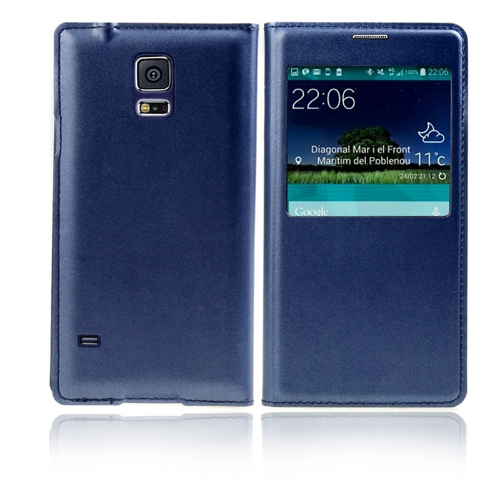 Flip Smart View Intelligent Sleep PU Leather Battery Housing Case Cover for Samsung Galaxy S5 i9600 Dark Blue
