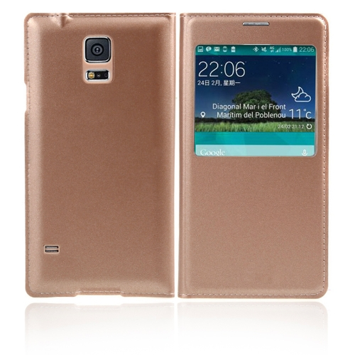 Flip Smart View Intelligent Sleep PU Leather Battery Housing Case Cover for Samsung Galaxy S5 i9600 Golden