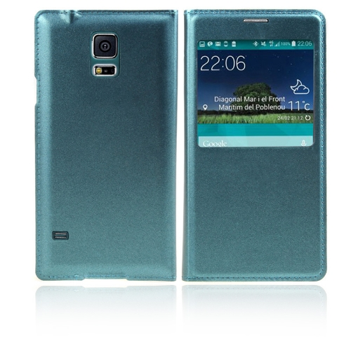 Flip Smart View Intelligent Sleep PU Leather Battery Housing Case Cover for Samsung Galaxy S5 i9600 Green
