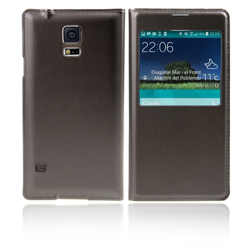 Flip Smart View Intelligent Sleep PU Leather Battery Housing Case Cover for Samsung Galaxy S5 i9600 Grey