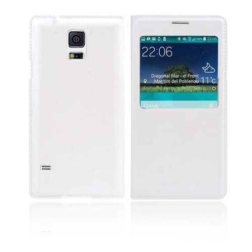 Flip Smart View Intelligent Sleep PU Leather Battery Housing Case Cover for Samsung Galaxy S5 i9600 White