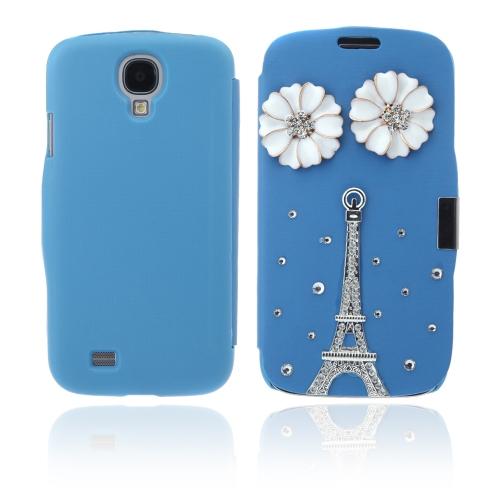 Aleta Bling flor caso cobrir PU de couro para Samsung Galaxy S4 i9500 azul