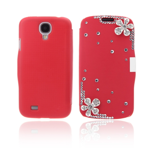 Flip Leather Bling Flower Case Cover PU Leather for Samsung Galaxy S4 i9500 Red