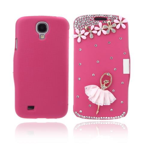 Flip-Bling flor caso cobrir PU de couro para Samsung Galaxy S4 i9500 Rose