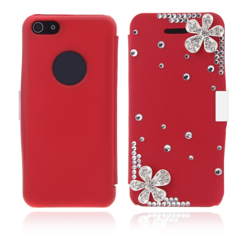 Flip Leather Bling Flower Case Cover PU Leather for iPhone 5 5s Red