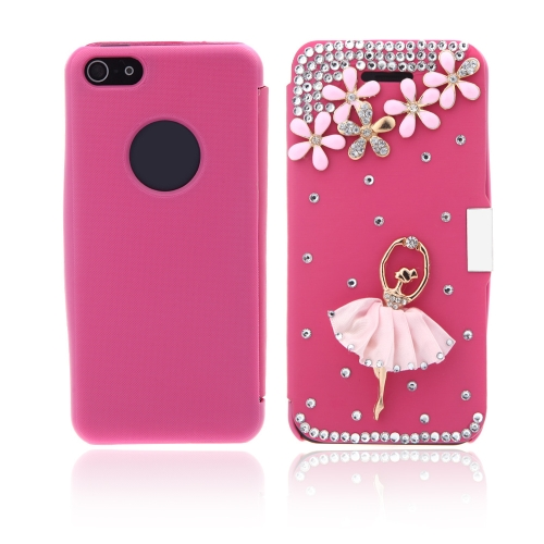 Flip in pelle fiore Bling caso coprire PU pelle per iPhone 5 5s Rose
