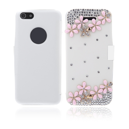 Flip Leather Bling Flower Case Cover PU Leather for iPhone 5 5s White