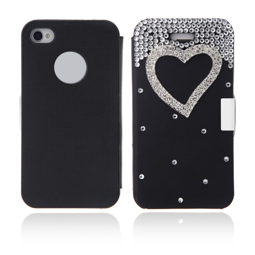Flip Leather Bling Flower Case Cover PU Leather for iPhone 4 4s Black