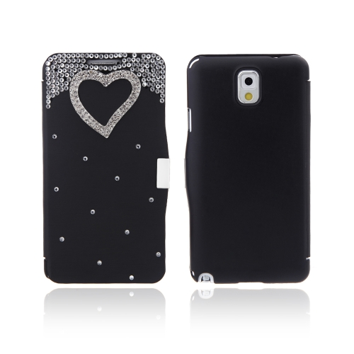 Flip Leather Bling Flower Case Cover PU Leather for Samsung Galaxy Note 3 III N9000 Black