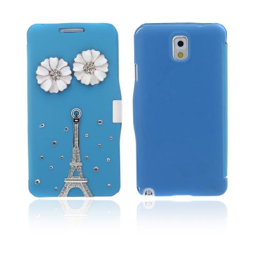 Flip-Bling flor de couro capa Case couro do plutônio para o Samsung Galaxy Note 3 III N9000 azul