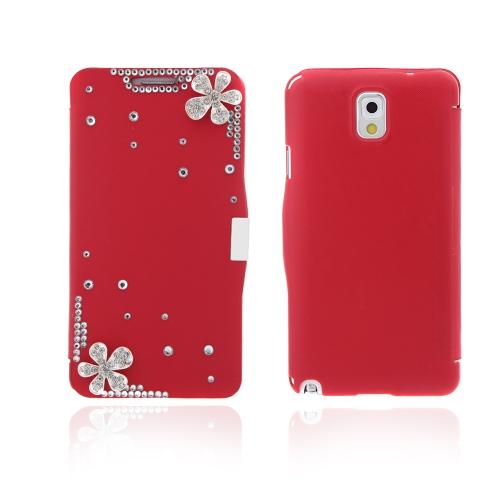 Flip-Bling flor de couro capa Case couro do plutônio para o Samsung Galaxy Note 3 III N9000 vermelho