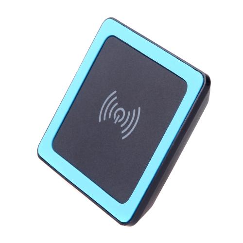 Mini almofada de transmissor Qi Wireless carregador com tapete de Silicone para iPhone 6 6S 6 Plus 6S Plus Samsung Galaxy OBS4 Note5 nota de borda S6 S6 S6 borda Plus LG G4 Xiaomi nota Pro Huawei companheiro 7 P7 P8 Smartphone Ultra Slim preto + azul