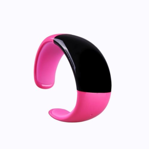 Relógio de pulseira Bluetooth sem fio com microfone alto-falante receber rejeitar entrada ligar alarme anti perda multifuncional elegante rosa vermelha