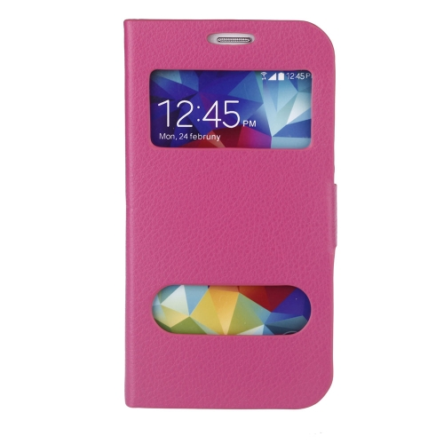Double View Screen Window Flip Case Cover PU Leather for Samsung Galaxy S5 I9600 Stand Magnetic Clip Pure Rose Red
