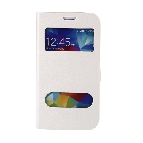 Double View Screen Window Flip Case Cover PU Leather for Samsung Galaxy S5 I9600 Stand Magnetic Clip Pure White
