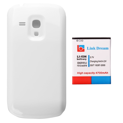4700mAh Rechargeable Li-ion Battery High Capacity Replacement + White Back Cover for Samsung Galaxy EB425161LU SIII 3 Mini GT-i8190 I8160
