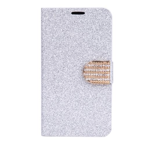磁気財布ケース フリップ レザー スタンド カバー サムスン ギャラクシー S5 i9600 銀のカード ホルダー付き