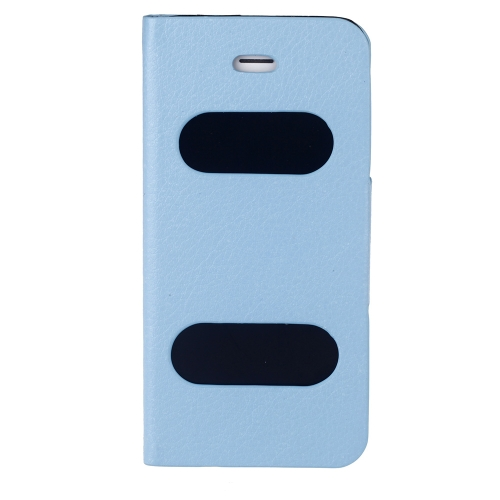 Double View Screen Window Flip Case Cover PU Leather for iPhone 5S 5G 5C Stand Magnetic Clip Pure Blue