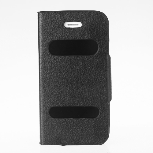 Double View Screen Window Flip Case Cover PU Leather for iPhone 4S 4G Stand Magnetic Clip Pure Black