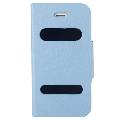 Double View Screen Window Flip Case Cover PU Leather for iPhone 4S 4G Stand Magnetic Clip Pure Blue