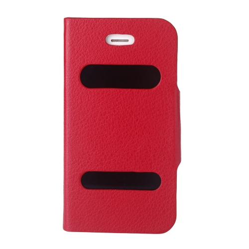 Double View Screen Window Flip Case Cover PU Leather for iPhone 4S 4G Stand Magnetic Clip Pure Red