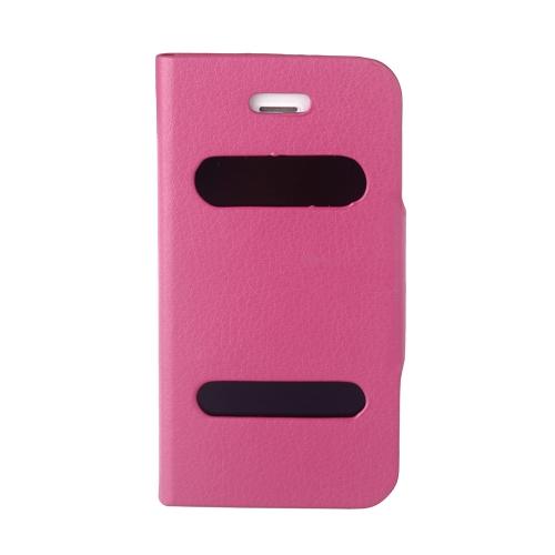 Двойное Смотровое Окно Экрана Чехол-флип Обложка PU Кожа для for iPhone 4S 4G Подставка Магнитный Зажим Чистый Розово-красный