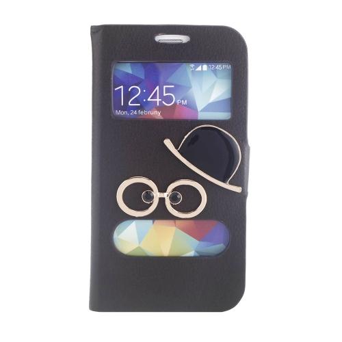 Doppia vista schermo finestra Flip Case Cover Bling Diamante strass cristallo PU pelle per Samsung Galaxy S5 I9600 Stand Clip magnetica pura Brown