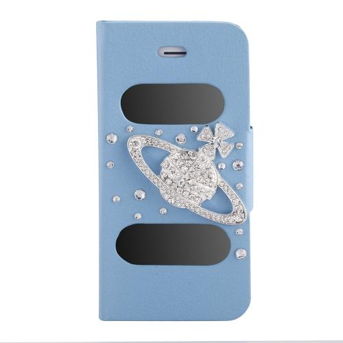 ダブル ビュー画面ウィンドウ フリップ ケース カバー キラキラ ダイヤモンド ラインス トーン クリスタル PU レザー iPhone 5 s の 5 5 スタンド磁気クリップ ピュアブルー