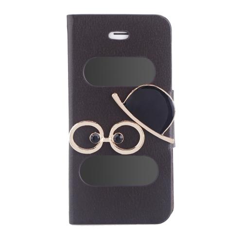 Duplo Vista tela janela Flip caso cobrir Bling diamante strass cristal couro do plutônio para 5S iPhone 5 5 Stand magnética Clip pura Brown