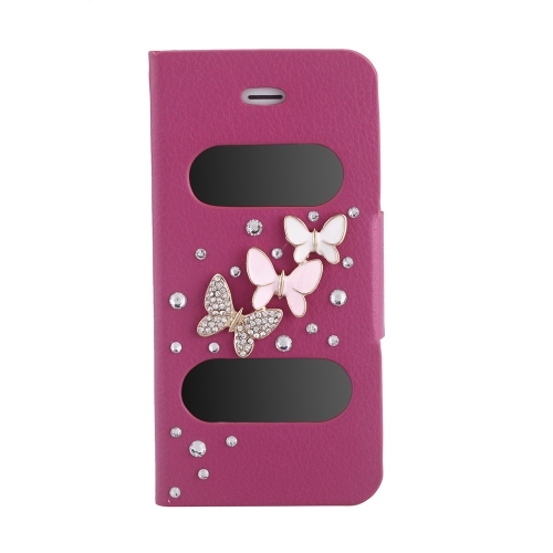 Double View Screen Window Flip Case Cover Bling Diamond Rhinestone Crystal PU Leather for iPhone 5S 5G 5C Stand Magnetic Clip Pure Rose Red