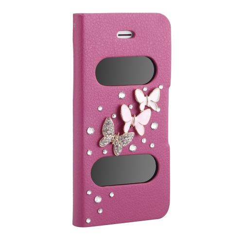 Duplo Vista tela janela Flip caso cobrir Bling diamante strass cristal couro do plutônio para 5S iPhone 5 5 Stand magnético vermelho puro Clip