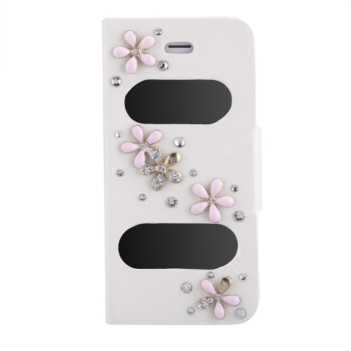 Double View Screen Window Flip Case Cover Bling Diamond Rhinestone Crystal PU Leather for iPhone 5S 5G 5C Stand Magnetic Clip Pure White