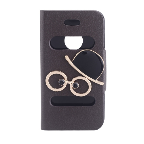 Double View Screen Window Flip Case Cover Bling Diamond Rhinestone Crystal PU Leather for iPhone 4S 4G Stand Magnetic Clip Pure Brown