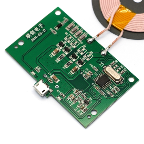 Qi Wireless Charger PCBA Circuit Board with Qi Standard Coil DIY Wireless Charging Accessory Micro USB Port