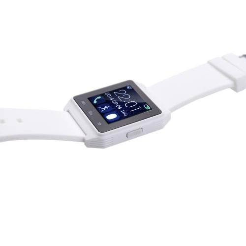 Relógio de BT para função de alarme anti-perdido de Smartphone Android Touch Screen sincronização SMS chamada música & câmera controle remoto branco