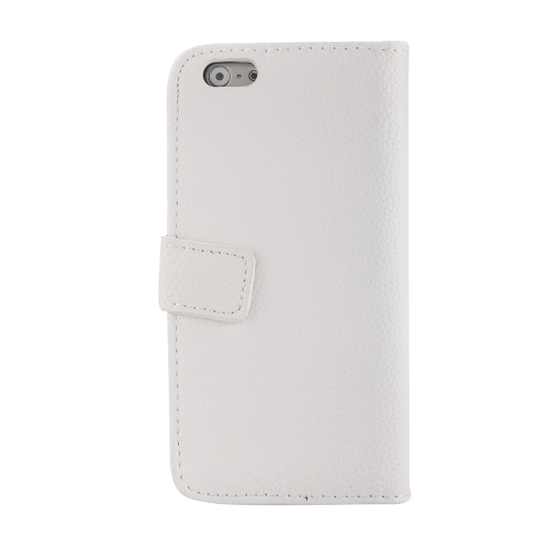 Luxury Flip PU Leather Wallet Case Cover with Card Holder Magnetic Clip Stand Folded Protective Shell for Apple iPhone 6 White