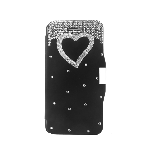 Magnetic Flip PU Leather Hard Skin Ultra Slim Pouch Wallet Case Cover Bling Diamond Rhinestone Crystal for Apple iPhone 6 Black