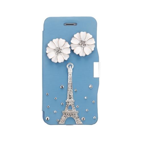Magnético Flip PU couro duro pele Ultra Slim bolsa carteira caso cobrir Bling strass cristal de diamante para Apple iPhone 6 azul