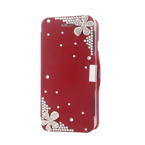 Magnético Flip PU couro duro pele Ultra Slim bolsa carteira caso cobrir Bling strass cristal de diamante para Apple iPhone 6 vermelho