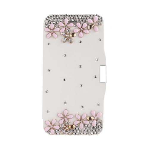 Magnético Flip PU couro duro pele Ultra Slim bolsa carteira caso cobrir Bling strass cristal de diamante para Apple iPhone 6 branco