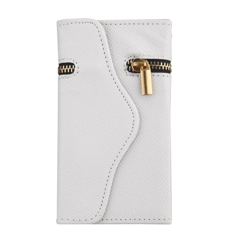 Unique Zipper PU Leather Wallet Magnetic Flip Hard Case Cover Card Holder for Apple iPhone5 5S 5C 5G White