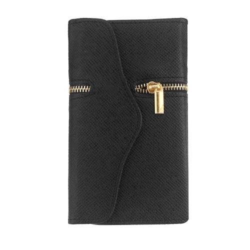 Unique Zipper PU Leather Wallet Magnetic Flip Hard Case Cover Card Holder for Samsung Galaxy S5 I9600 Black