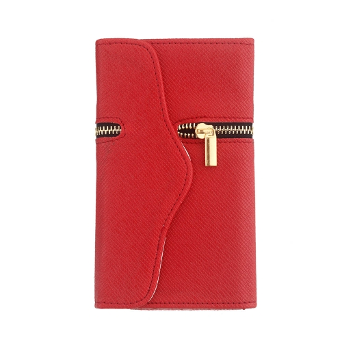Unique Zipper PU Leather Wallet Magnetic Flip Hard Case Cover Card Holder for Samsung Galaxy S5 I9600 Red