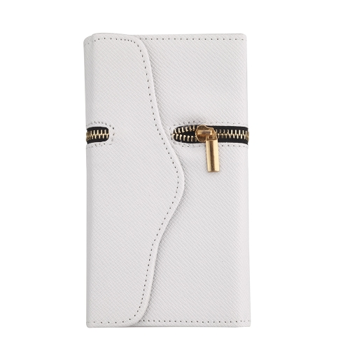 Unique Zipper PU Leather Wallet Magnetic Flip Hard Case Cover Card Holder for Samsung Galaxy S5 I9600 White