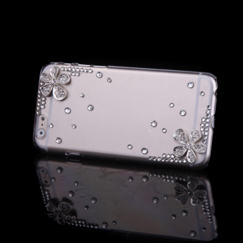 Роскошь ясно прозрачный кристалл Bling горный хрусталь Diamond Серебряный цветок случае жесткий обратно покрытия защитную оболочку для Apple iPhone 6