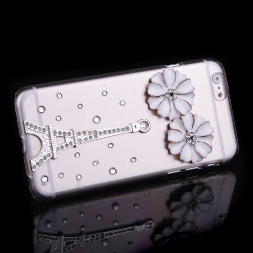 Luxury Clear Transparent Crystal Bling Rhinestone Diamond Silver Flower Eiffel Tower Case Hard Back Cover Protective Shell for Apple iPhone 6