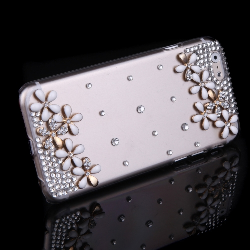 Luxury Clear Transparent Crystal Bling Rhinestone Diamond White Flower Case Hard Back Cover Protective Shell for Apple iPhone 6