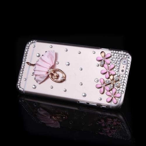 Luxo clara transparente cristal Bling Rhinestone diamante flor Ballet garota caso difícil volta cobrir casca protetora para Apple iPhone 6